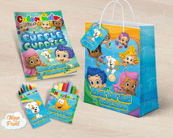 Kit colorir giz massinha e sacola bubble guppies