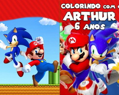 Revista de Colorir Super Mario e Sonic 14x10