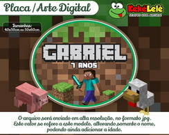 Placa Minecraft - Arte Digital