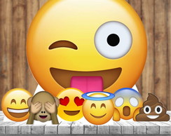 Kit 7 Totem Festa Display Centro Mesa Emoji Emoticon
