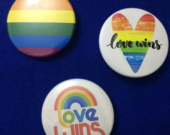 Kit 3 Bottons / Broches Love Wins Gay