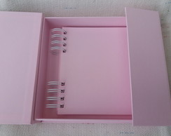 Mini album 15x15 rosa com caixa