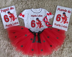 kit 2 camiseta adulto e fantasia lady bug