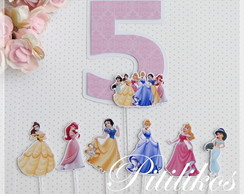 Kit Topper para bolo - Princesas Disney