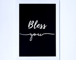 Quadro Decorativo Frases Bless You Foil Holográfico - MBR