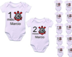 kit 12 body bebe mesversario de time de Futebol