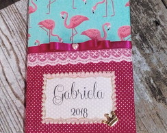 Caderno brochura decorado com tecido Flamingo