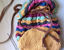 Bolsa Saco (Bucket Bag) de Crochê colorida