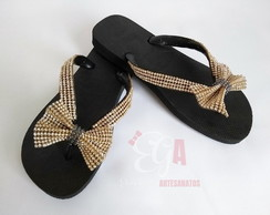 Chinelo Havaianas Top Customizados Manta e Laço Strass