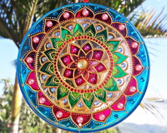 Mandala vitral decorativa 15cm