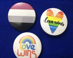 Kit 3 Bottons / Broches Love Wins Assexual