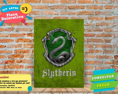 Placa Decorativa - Casas de Harry Potter Sonserina -REF 0102
