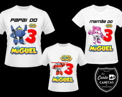 Camiseta personalizada super wings kit família 3 uni
