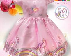 Vestido Infantil Unicórnio Rosa No Elo7 Gilerá Fashion