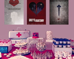 Placa Quadro Decorativa Festa Grey´s Anatomy kit com 3