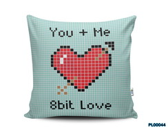 Almofada 40x40 You + Me 8bit Love Geek Nerd Pixels