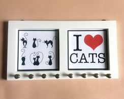 Porta Colar I Love Cats (Branco)
