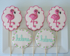 Biscoitos Decorados Flamingos e Nomes no Palito