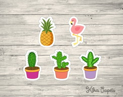 150 Apliques Abacaxi Cacto Flamingo 3,5 cm Tags Toppers