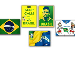 5 Placas decorativas Copa do mundo Brasil