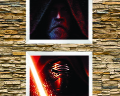 Kit 2 Quadros Arte Kylo e Luke