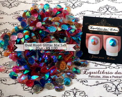 Oval rivoli glitter Mix 5x8