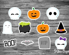 150 Apliques Halloween Mod1 3,5 cm Tags Toppers