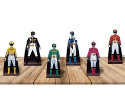kit 6 displays totens festa de mesa Power Rangers