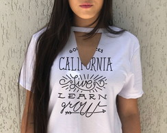 T Shirts Femininas Chocker Califórnia Camiseta