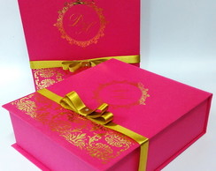 Caixa convite hot stamp pink 20x23x7