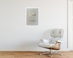 Quadro Frases Less is More com Foil Dourado no bege - MoldBR