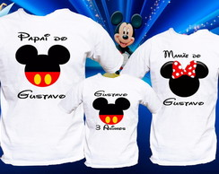 kit mickey personalizado com 3 camisetas disney