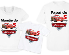 kit com 3 camisas carros da disney