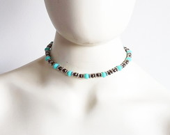 Choker Metal Cristais
