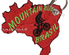 Chaveiro Patch Bordado - Mountain Bike Mapa Brasil AD30076