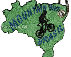 Chaveiro Patch Bordado - Mountain Bike Mapa Brasil AD30077