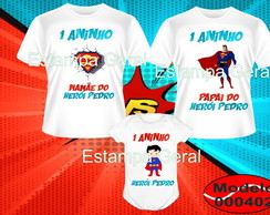 KIT CAMISETA+BODY BEBE ANIVERSARIO SUPER HOMEM HEROIS C/3