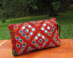 Carteira Mini Clutch Patchwork Tecidos Bordados Etno Chic