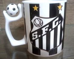 20db84f1da Caneca de Ceramica Branca com Alca de Bola de Futebol