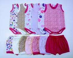 KIT PRONTO MENINA/6 BODY REGATA + 6 SHORT /TAM.P