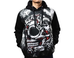 Blusa De Frio Printfull Moletom Candy Skull Side Tattoo