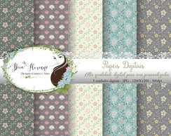 Papel Digital Floral Vintage papers kit 2