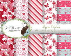 Papel Digital Romantic red valentine papers