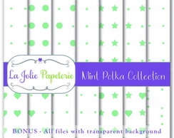 Mint Polka Collection (Papel Digital)