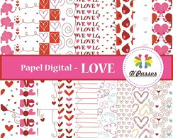 Kit c/ 18 - Papel Digital -Love