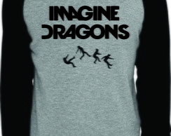 Camiseta Raglan Manga Longa Imagine Dragons Banda Rock