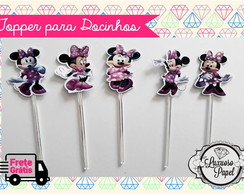 50 Forminhas + 50 Toppers - Minnie Rosa