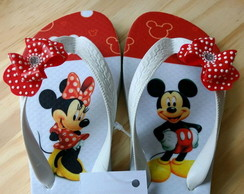 Chinelo Infanto Juvenil Mickey e Minnie Tira decorada