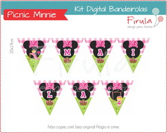 Kit Digital Bandeirolas Picnic Parquinho da Minnie