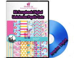 Kit Scrapbook Digital - Unicórnios Papéis Cute